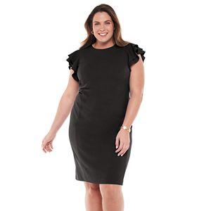 Plus Size Chaps Flutter Sleeve Sheath Dress