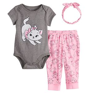 Disney's The Aristocats Marie Baby Girl Bodysuit, Pants & Headband Set by Jumping Beans®