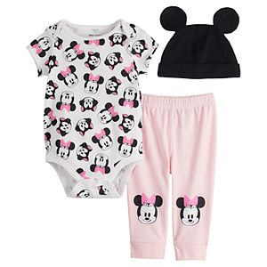 Disney's Minnie Mouse Baby Girl Short Sleeve Bodysuit, Pants & Hat Set by Jumping Beans