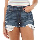Juniors' Mudd® High Rise Destructed Crocket Pocket Jean Shorts