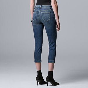 Women's Simply Vera Vera Wang High-Waisted Patch-Pocket Capri Jeans