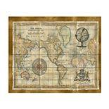 Trademark Fine Art Antique World Map Framed Wood Slat Wall Art