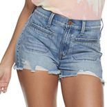 Juniors' Mudd® High Rise Utility Fray Hem Shorts