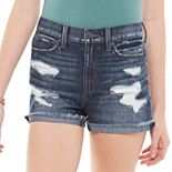 Juniors' Mudd® High Rise Fray Cuff Shorts