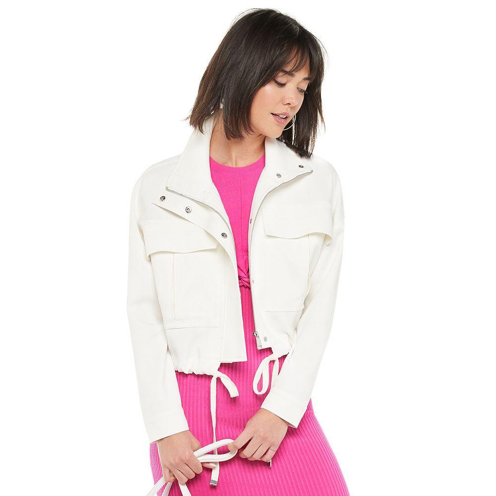 Women's Jennifer Lopez Utility Jacket with Pleated Patch Pockets