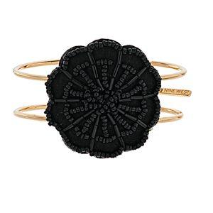 Nine West Gold Tone Beaded Flower Cuff Bracelet