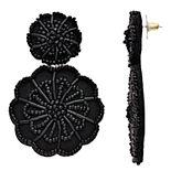 Nine West Black Beaded Floral Drop Earrings