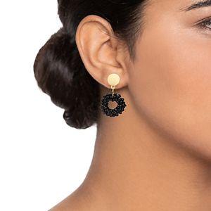 Nine West Black Beaded Open Drop Earrings