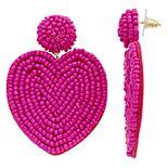 Nine West Pink Beaded Heart Drop Earrings