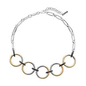 Nine West Tri-Tone Chain Link Frontal Necklace