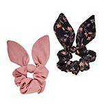 2-Pack Floral Print & Solid Bow Hair Scrunchies