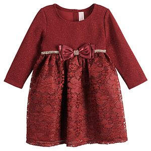 Baby Girl Youngland Glittery Bodice Lace Dress