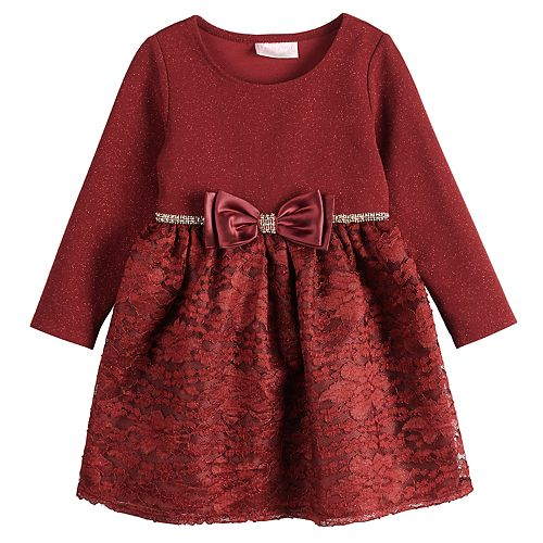 Toddler Girl Youngland Glittery Bodice Lace Dress