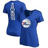 Women's Fanatics Branded Joel Embiid Royal Philadelphia 76ers Backer Name & Number V-Neck T-Shirt
