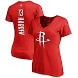 Women's Fanatics Branded James Harden Red Houston Rockets Backer Classic Fit Name & Number V-Neck T-Shirt