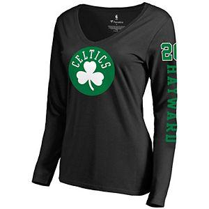 Women's Fanatics Branded Gordon Hayward Black Boston Celtics Team Idol Name & Number Long Sleeve V-Neck T-Shirt