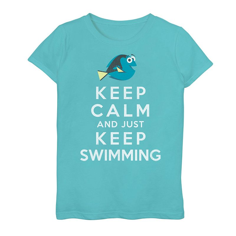 Girls 7-16 Disney/Pixar's Finding Dory Keep Calm Keep Swimming Tee, Girl's, Size: Small, Blue