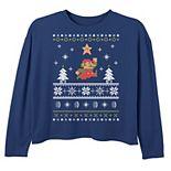 Girls 6-16 Nintendo Super Mario Snow Level Ugly Christmas Top