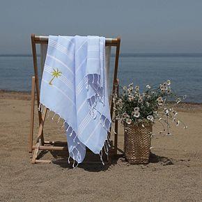 Linum Home Textiles Turkish Cotton Lucky Breezy Palm Tree Pestemal Beach Towel
