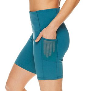 Women's Gaiam Om High-Waisted Mesh Pocket Fitted Shorts