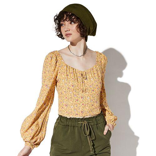 Juniors' Vylette™ Floral Peasant Top