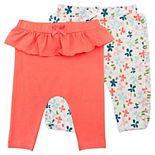 Baby Girl Mac & Moon 2-Pack Ruffle Leggings in Coral and Floral Print