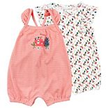 Baby Girl Mac & Moon 2-Pack Sleeveless Rompers in Floral Print & Stripes
