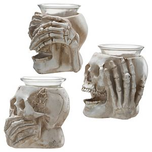 National Tree Company Skull Candle Holders 3-pc. Set