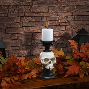 National Tree Company Skull Candle Holder