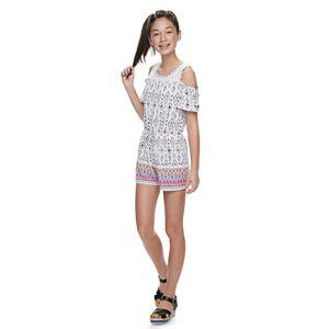 Girls 6-20 & Plus Size Mudd Crochet Cold-Shoulder Romper