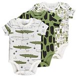 Baby Boy Mac & Moon 3-Pack Crocodile Print Short Sleeve Bodysuits