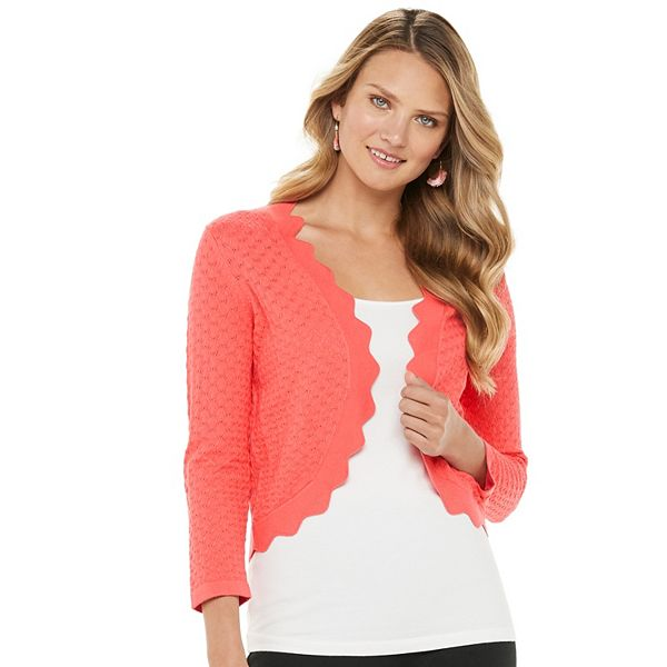 Women's ELLE™ Scalloped Pointelle Cardigan