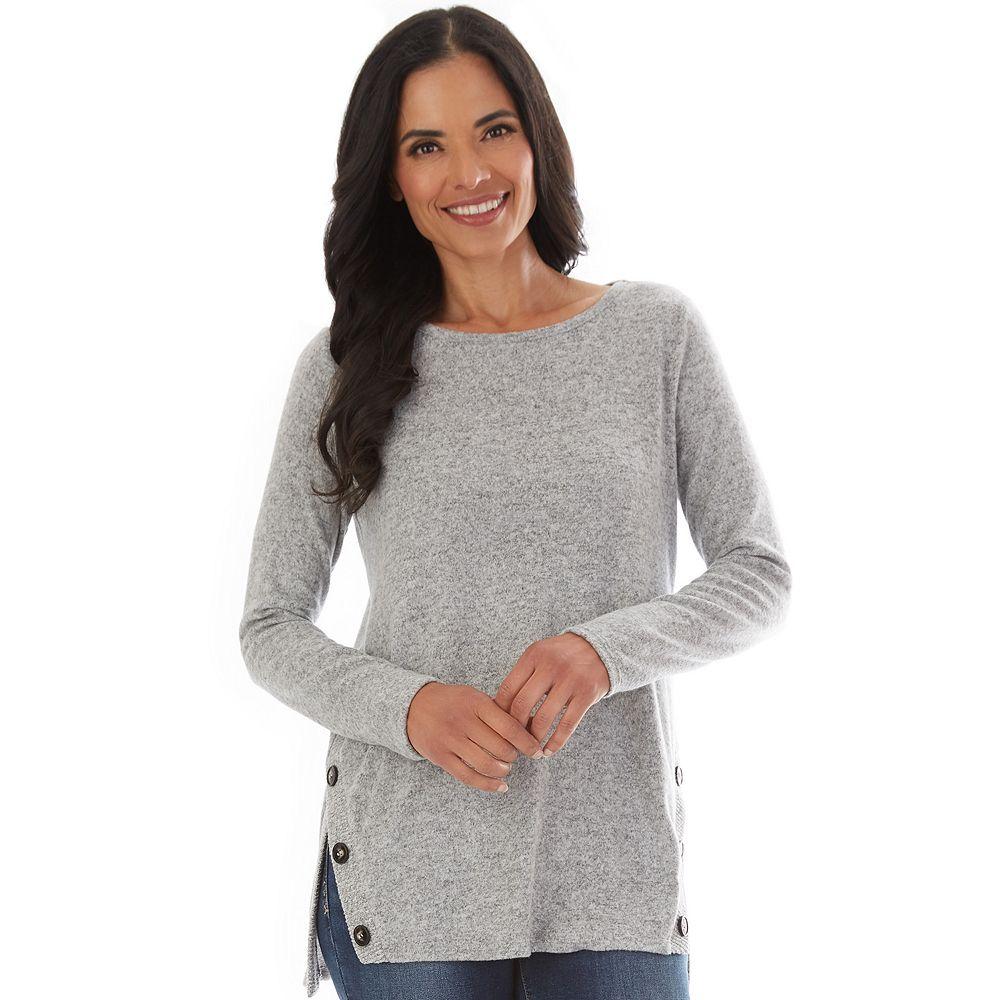Petite Apt. 9® Fuzzy Side-Button Tunic Sweater