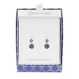 Brilliance Fine Silver Plated Double Drop Earrings with Blue Swarovski Crystals