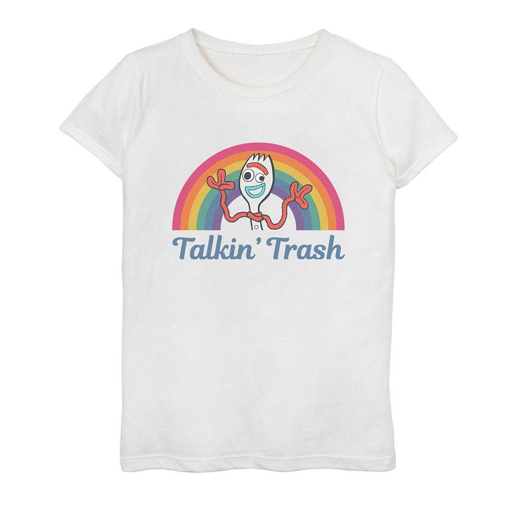 "Disney / Pixar Toy Story 4 Girls 7-16 Forky ""Talkin' Trash"" Rainbow Graphic Tee"