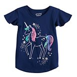 Toddler Girl Jumping Beans® Ruffle Sleeve Unicorn Tee