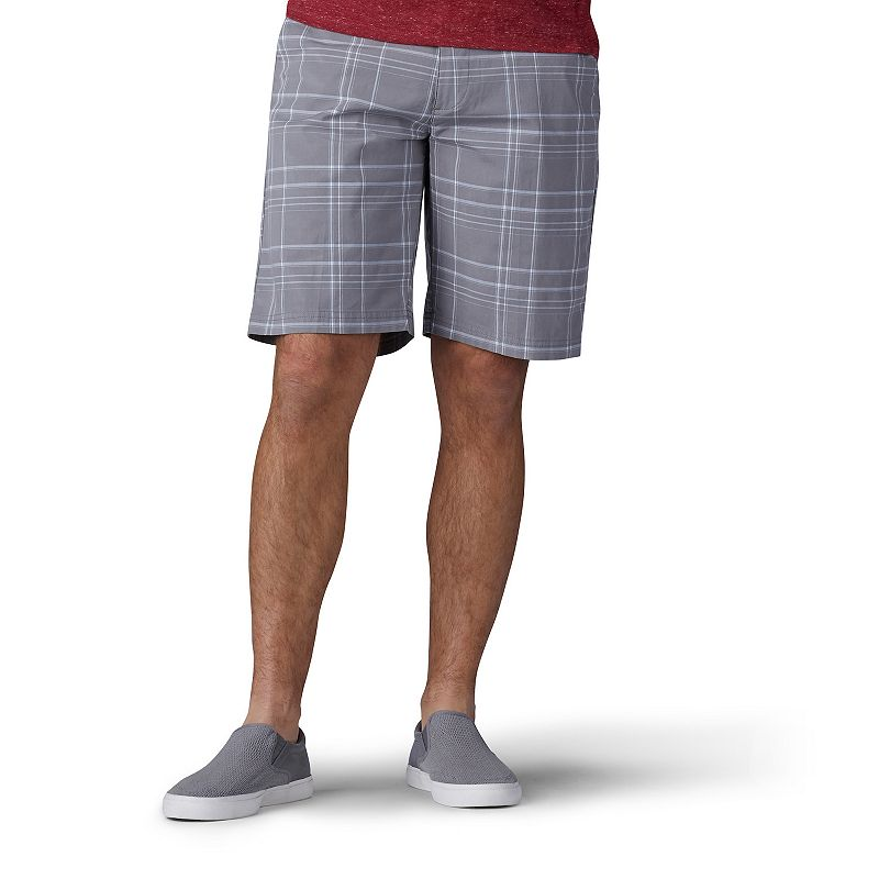 Men's Lee Extreme Comfort Flat-Front Shorts, Size: 34, Iron Plaid Rule warm weather days in comfort and style with these men's Lee Extreme Comfort flat-front shorts. Extreme flex waistband Diagonal front pockets, seamed back pockets Moisture-wicking fabric Button & zipper closureFIT & SIZING Straight fit 10-inch approximate inseam Flat-front waistline for a smooth, slimming fitFABRIC & CARE Cotton, spandex Machine wash Imported Size: 34. Color: Iron Plaid. Gender: male. Age Group: adult.