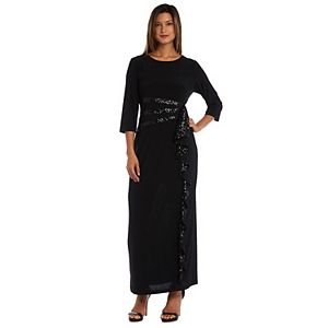 Petite R&M Richards Embellished Sequin Cascade Evening Dress