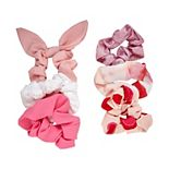 SO® Pink Solid & Heart Printed Scrunchie Set