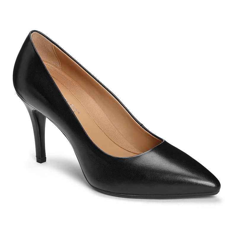 These classic Aerosoles Deal Breaker high heels become total head-turners with a few fresh twists. They are flirty and unabashedly feminine in a range of covetable colors. These classic Aerosoles Deal Breaker high heels become total head-turners with a few fresh twists. They are flirty and unabashedly feminine in a range of covetable colors. SHOE FEATURES Covered heel and pointed toe that come together to create a silhouette with a leg-lengthening effect Genuine Leather Upper; balance synthetic materials Heel Rest Technology, removable footbed SHOE CONSTRUCTION Leather upper Manmade lining Foam midsole Manmade outsole SHOE DETAILS Pointed toe Slip-on Foam footbed 3.25-in heel Size: 12. Color: Black. Gender: female. Age Group: adult.