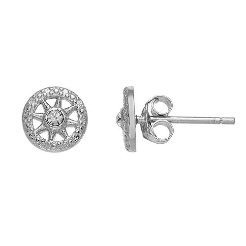 Fao Schwarz Sterling Silver Round Stud Earrings with