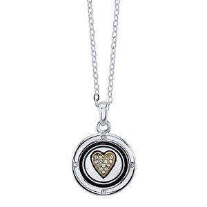 LovethisLife® Two Tone Crystal Heart Coin Pendant Necklace