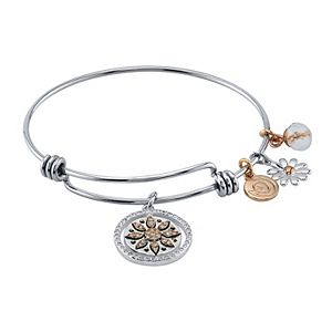 """LovethisLife® Crystal Accent Two Tone """"If Friends Were Flowers"""" Charm Bangle Bracelet"""