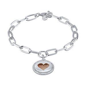 LovethisLife® Crystal Accent Two Tone Heart Charm Chain Bracelet