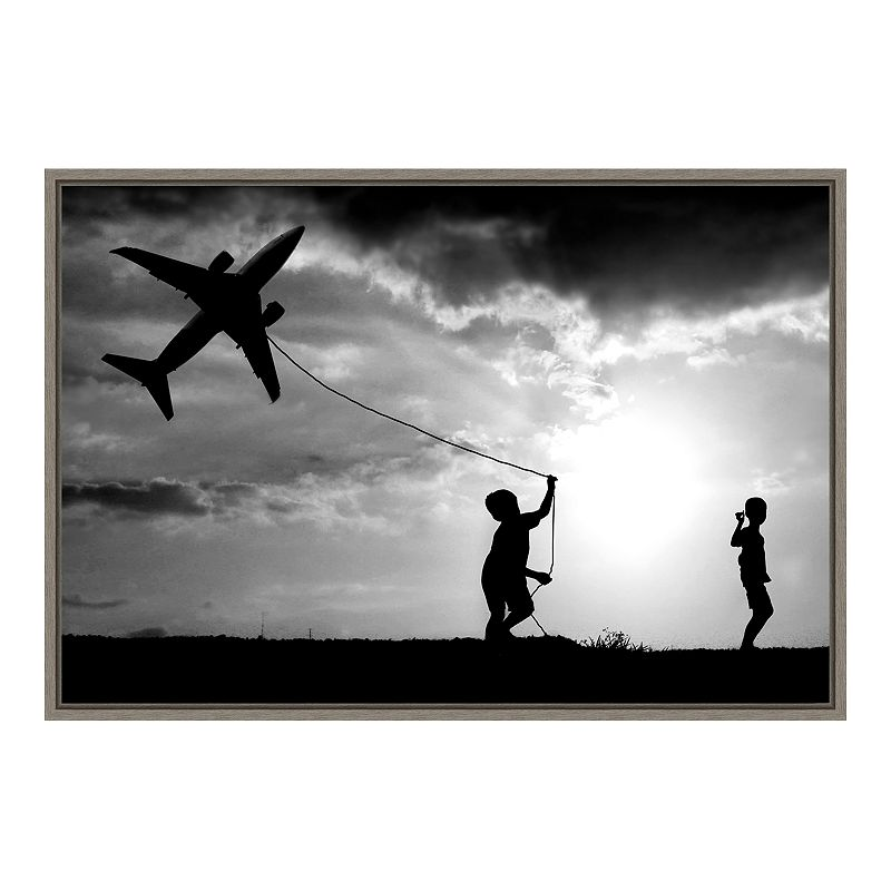 "Amanti Art ""Fly My Plane"" Framed Canvas Print, Grey, 23X16"
