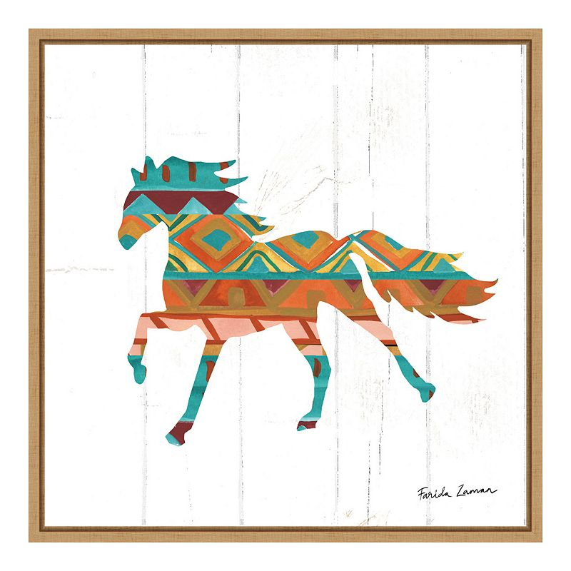 "Amanti Art ""Southwestern Vibes IV Horse"" Framed Canvas Print, Brown, 16X16"