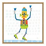 "Amanti Art ""Robot Party I on Squares"" Framed Canvas Print"