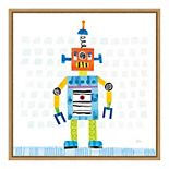 "Amanti Art ""Robot Party II on Squares"" Framed Canvas Print"