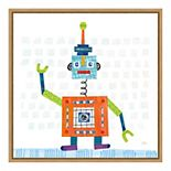 "Amanti Art ""Robot Party III on Squares"" Framed Canvas Print"