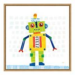 "Amanti Art ""Robot Party IV on Squares"" Framed Canvas Print"